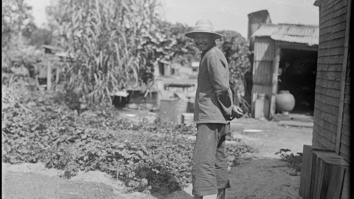 Black and White photo of a Chinese Market Gardener