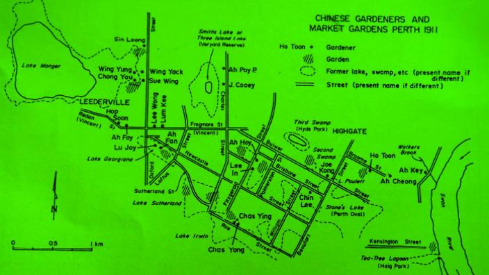 Technical map of the Perth Chinese Market Gardens