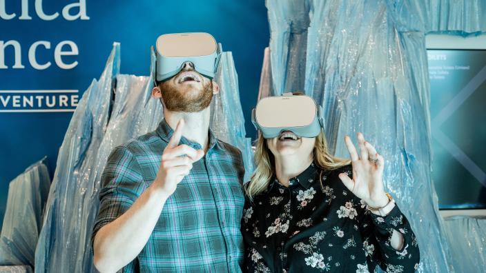 Visitors enjoying a virtual reality experience