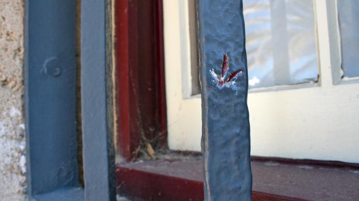 Broad Arrows in the window bars of the WA Shipwrecks Museum