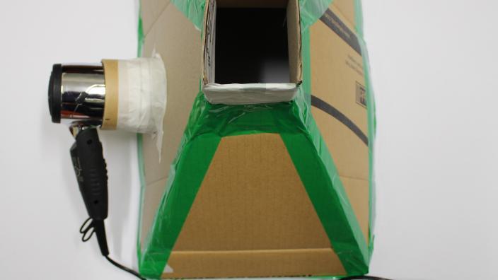 cardboard flue and hairdryer