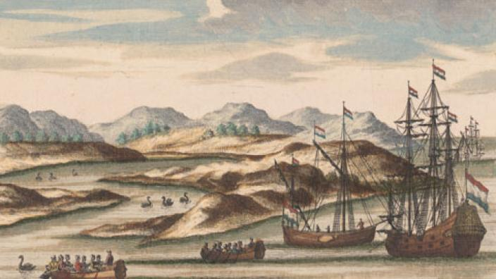Willem de Vlamingh's ships, with black swans, at the entrance to the Swan River.