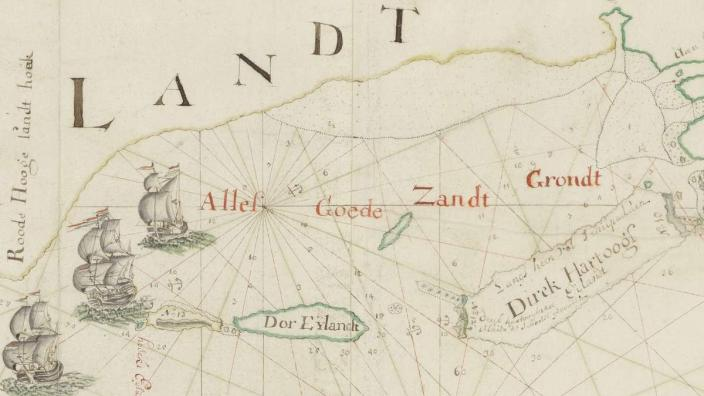 Victorsz detail of de Vlamingh's expedition to the South Land, 1697.