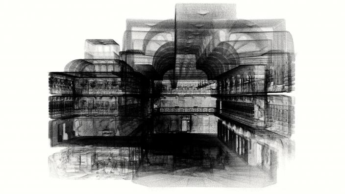 A stylised 3D render of Hackett Hall Gallery