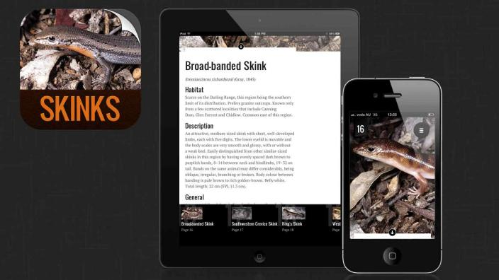 Image illustrating the iPhone app: Skinks of the Perth Region