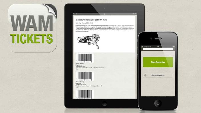 WAM Tickets iPad and iPhone interface and logo