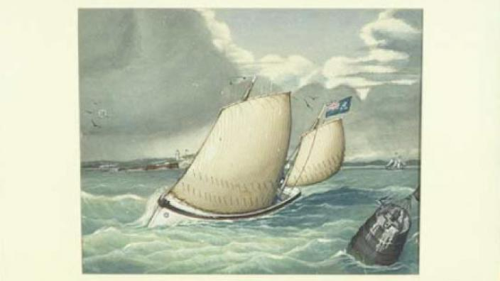 An artwork of two boats sailing in the ocean
