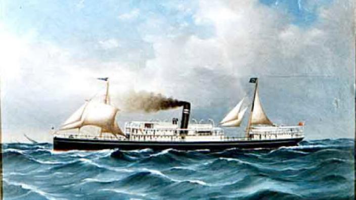 An artwork of a boar sailing through the ocean