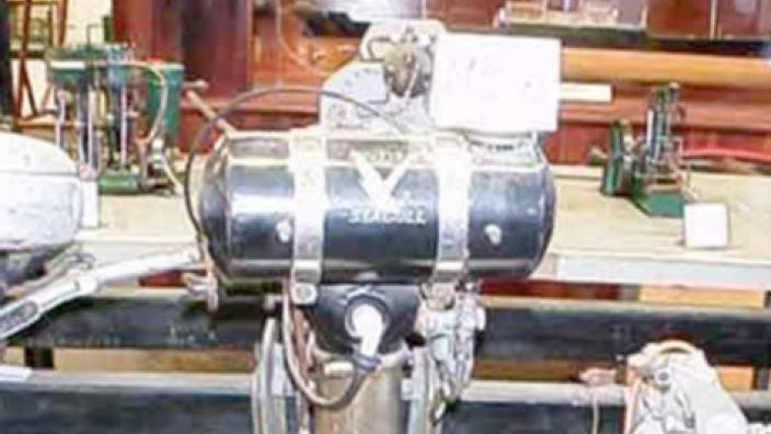 An outboard boat engine