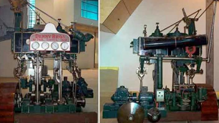 Two views of an old steam engine