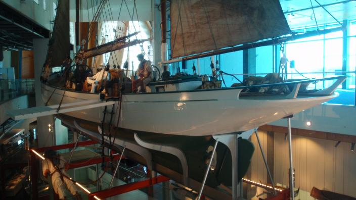 The pearl lugger Trixen, on display at the WA Maritime Museum