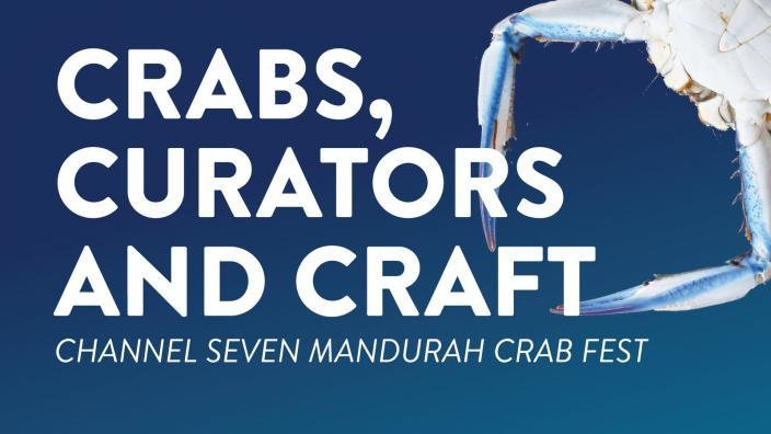 """""""Crabs, Curators and Craft is written over a photo of a Blue Swimmer Crab."""""""
