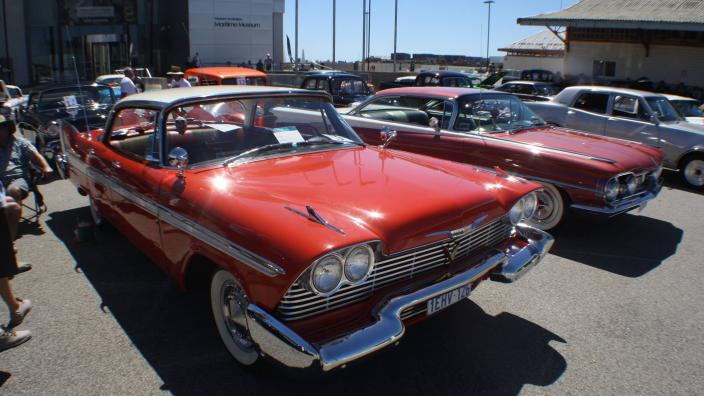 """""""Vintage cars on display in front of the WA Maritime Museum."""""""