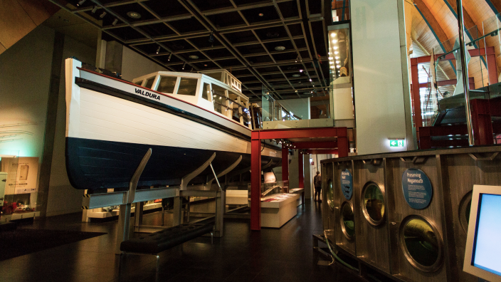 """""""The Swan River ferry, Valdura, mounted within the gallery space."""""""