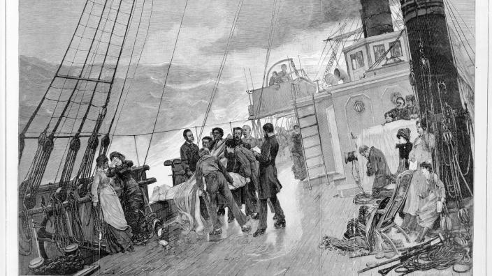 Artwork 'A burial at sea'. The Illustrated London News, November 1880