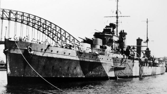 The HMAS Sydney II warship anchored in Sydney Harbour