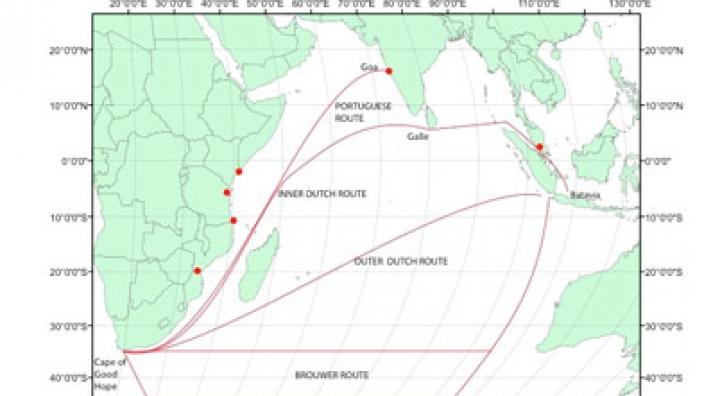 A map depicting shipping routes through the Indian Ocean in 16th and 17th century