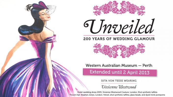 Illustration of Dita Von Teese wearing a flowing wedding dress