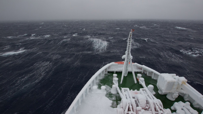 Research vessel riding out storm near the South Sandwich Islands