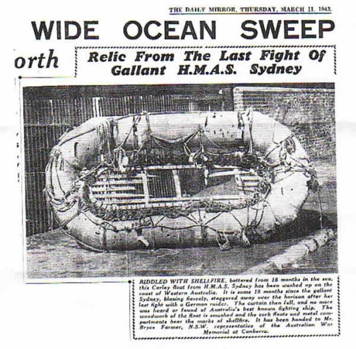 Newspaper clipping depicting a Carley Life float from the HMAS Sydney (II)