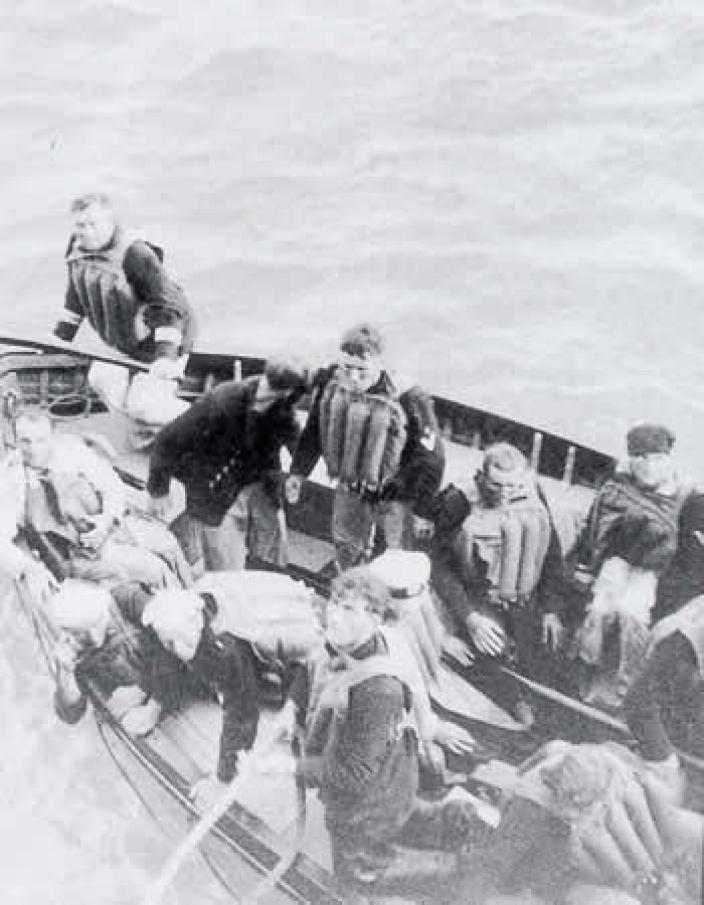 German survivors of the Kormoran aboard a lifeboat