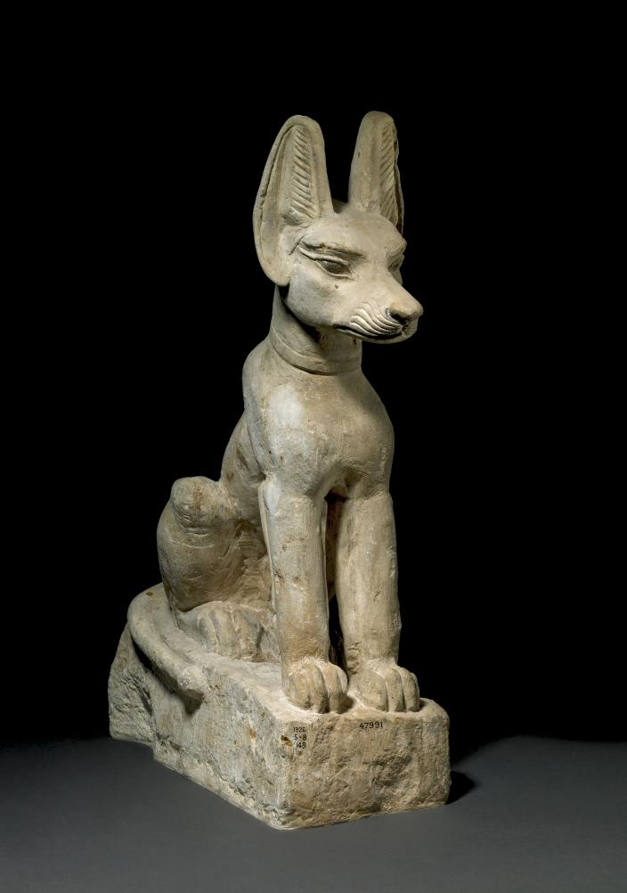 A stone statue of Anubis staged against a black background
