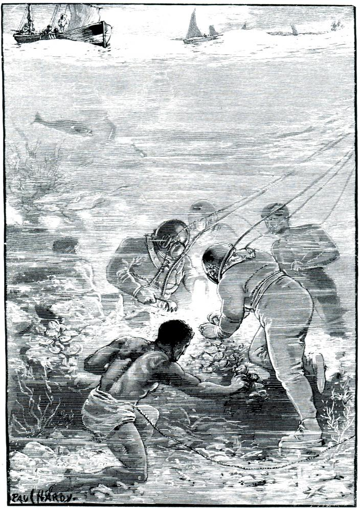 Drawing of diving practices and attire during the 1800s