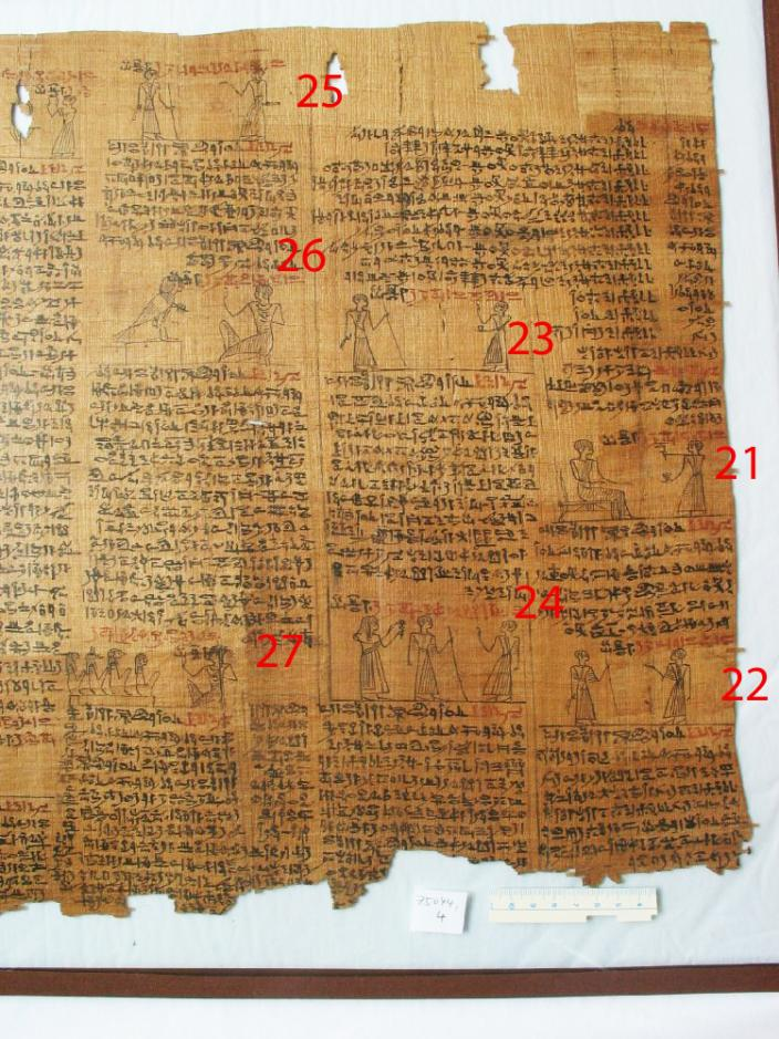 Graphic depicting where spells 21-27 are located on the papyrus