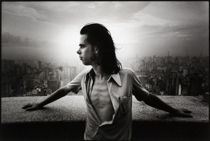 Nick Cave in an unbuttoned shirt in Sao Paolo, Brazil