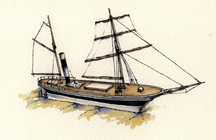 Water colour drawing of the vessel SS Xantho