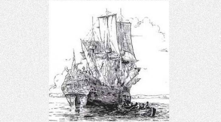 Hand drawn illustration of a large sail ship