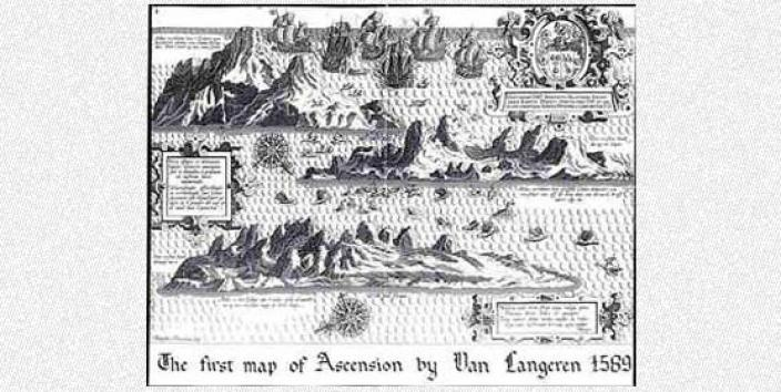 Hand drawn map of Ascension Island