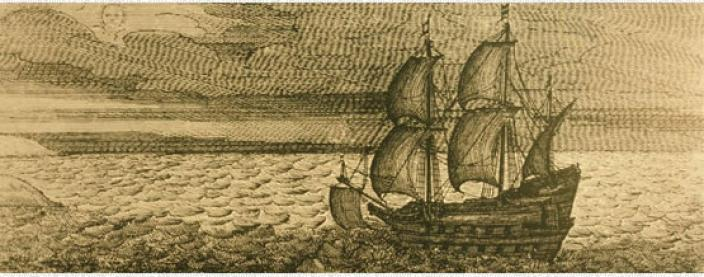 Engraving of the Batavia approaching remote islands