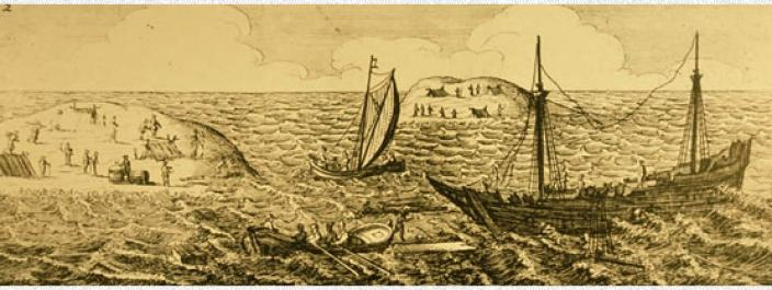 Engraving of the Batavia shipwreck and surrounding islands