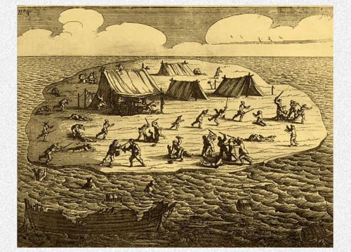 Engraving of the massacre that followed the Batavia shipwreck