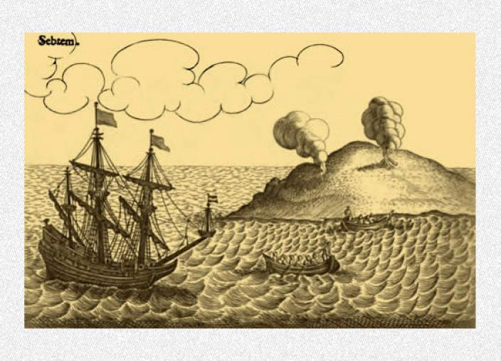 Engraving showing a boat arriving to a remote island