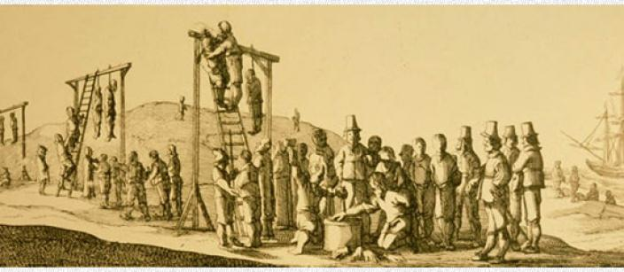Engraving depicting mass hangings