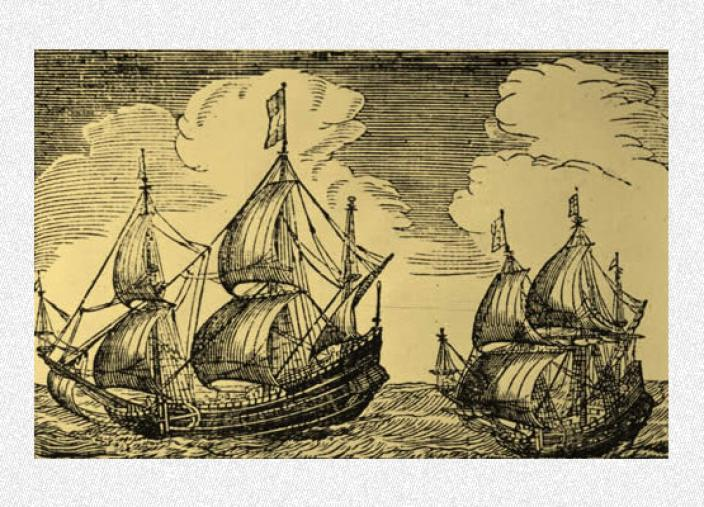 Engraving of two large sailing ships passing one another
