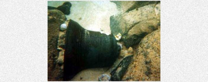 The bell as it first discovered on the sea floor