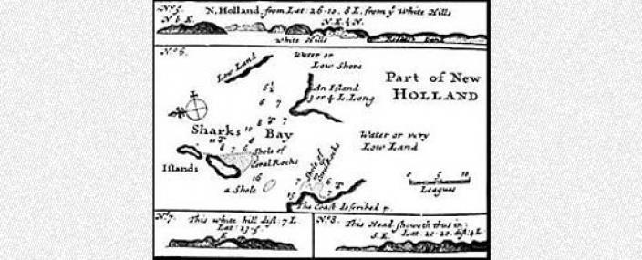 Hand drawn map of coastal features of New Holland