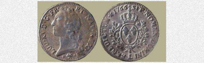 Front and back view of an 18th century coin