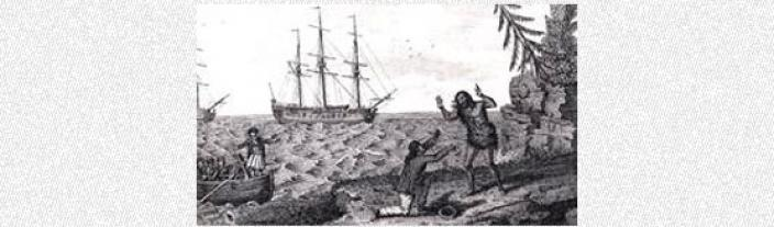 Drawing of a meeting between an indigenous person and a European