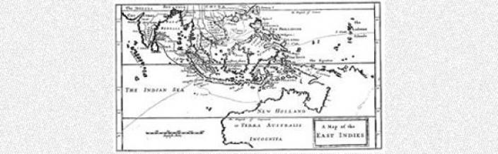 Hand drawn map illustrating Dampier's voyage through the Indian Ocean