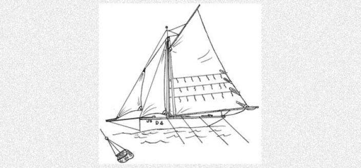 Drawing of the schema of a pearl dredging ship