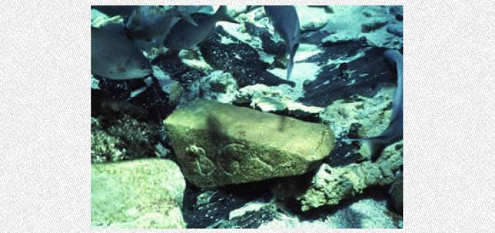 Large stone next to some submerged timber planks