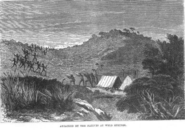 Drawing of an Aboriginal tribe descending on an explorers camp