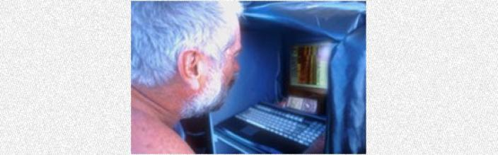 Scientist controlling a side scan through a computer interface