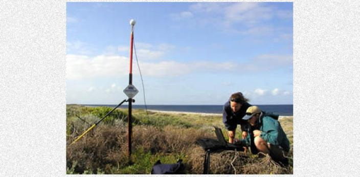 Two scientists performing a survey on Long Island