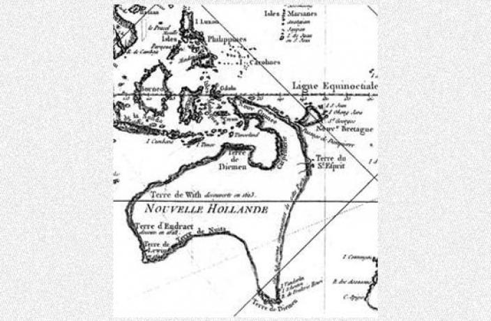 A drawn map depicting French knowledge of the Australian coast in 1850