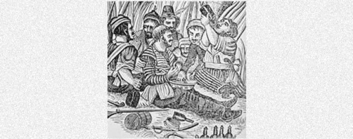 Woodcut of pirates from this period of time